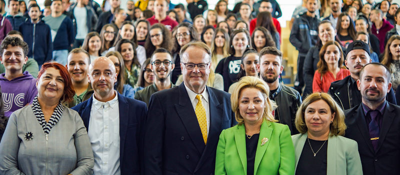 Her Excellency Ambassador Nataliya Apostolova, addressed incoming and current students at IBC-M